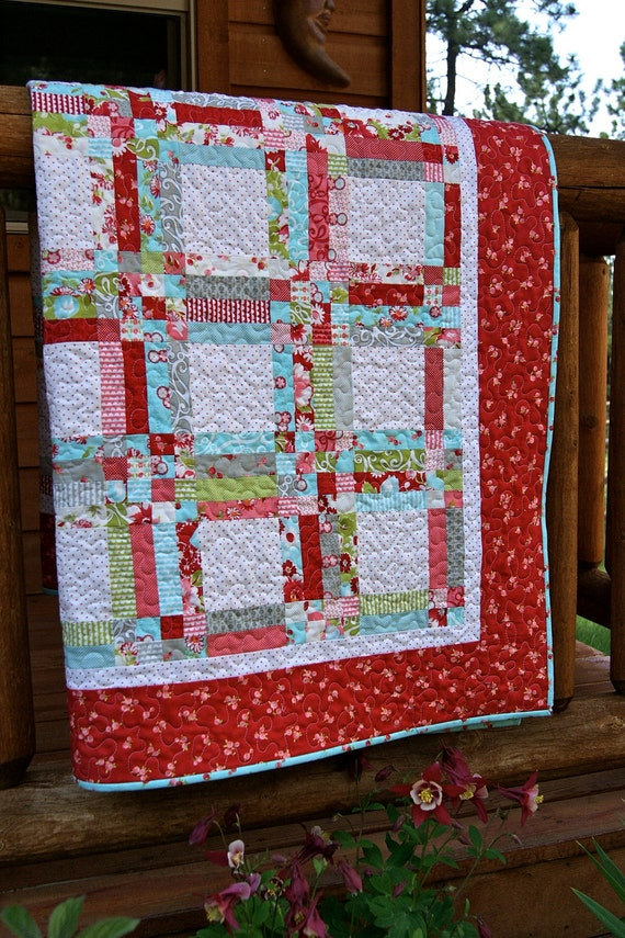 Quilt Moda Ruby Swizzle Sticks HANDMADE Lap Throw