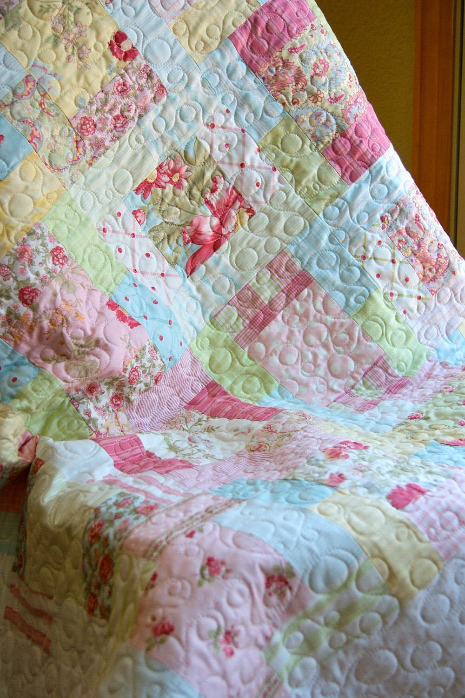 Baby quilt handmade moda simplicity fabrics for Baby girl fabric