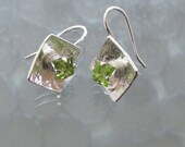 Peridot Earrings: August Birthstone on Sterling Squares