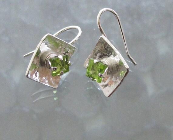 Peridot Earrings: August Birthstone on Sterling Squares