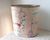 Vintage CAROUSEL HORSE Waste Basket Merry-Go-Round Metal Trash Can Harvell