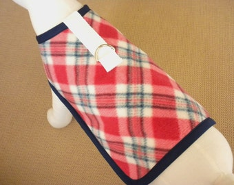 Red And Navy Plaid Dog Harness Coat