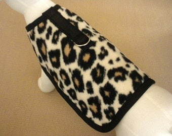 Fleece Leopard Dog Harness Coat