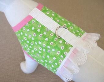 Green Flower Dog Harness Vest