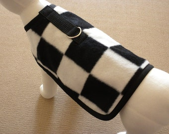 Racing Checkered Flag Fleece Dog Harness Coat