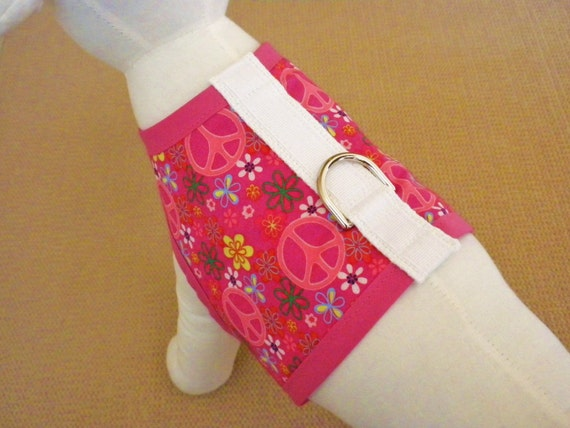 Pretty Pink Peace Sign And Flower Dog Harness Vest