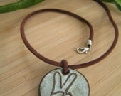Peace Baby Peace Sign Clay Pendant Necklace