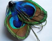 Peacock Feather Hairclip - PETIT PAON - Made to Order