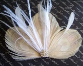 LEAH - Ivory Peacock Feather Bridal Clip with White or Ivory Accents - Made to Order