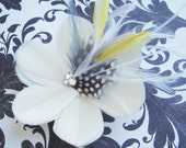 SUMMER - Bridal Feather Flower Fascinator with Ivory Grey and Yellow