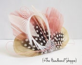 Antique Pink Peacock Clip - ATLANTIS - Cream and Dusty Rose Peacock Feather Hairclip or Veil Fascinator