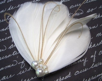 MILA PETIT PEARL - Petite Ivory and Champagne Bridal Feather Fascinator