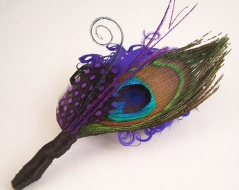 Purple and Peacock Feather Boutonniere Lapel Pin for the Groomsmen