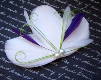 MILA Lime & Purple - Bridal Feather Fascinator Hairclip - White Purple and Lime - customizable and made to order