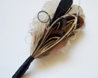 HUNTER - Cream and Pheasant Boutonniere for the Groomsmen