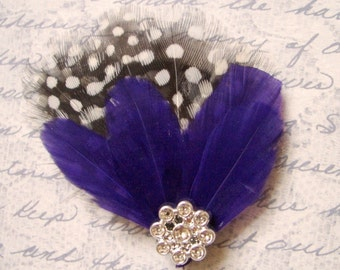 STAR PURPLE - Mini Guinea and Peacock Hairclip