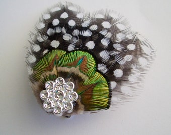 STAR - Mini Guinea and Peacock Hairclip - Made to Order