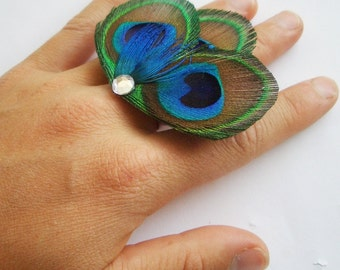 CHLOE RING - Peacock Feather Cocktail Ring - Made to Order