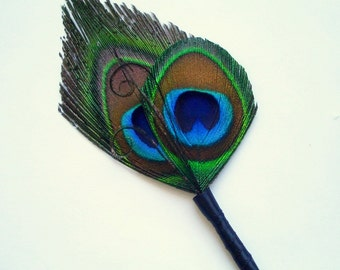 Peacock Boutonniere - Double Peacock Simplicity Boutonniere - For the Groomsmen - Made to Order