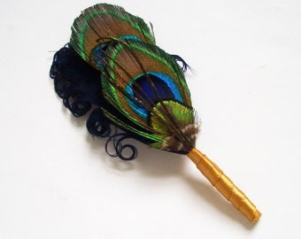 Peacock Boutonniere - ECHO - Custom Designed in Navy Blue and Gold