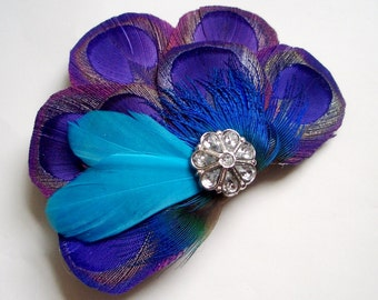Ready to Ship in 3 Business Days - CARLY PURPLE - Purple Peacock Fascinator with Turquoise Feather Accents