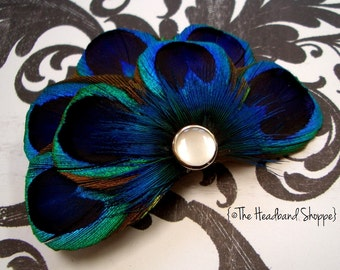 CARLY - Peacock Feather Fascinator Bridesmaids Hair Accessory - Made to Order