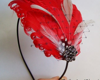 SCARLET AND LACE - Red and Grey Curled Goose Feather Headband