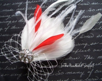 Petite White and Red Bridal Feather Fascinator with Birdcage Veiling - MILA Candy Cane