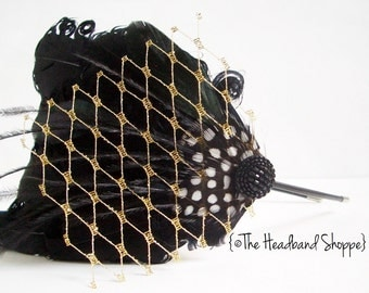 Black Curled Goose Feather Headband with Gold Birdcage Veiling - NOIR AND GOLD