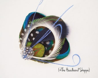 ATLANTIS MINI  - Fantastical Peacock Feather Fascinator Hairclip - Navy Blue