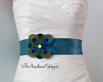 TUSCANY - Peacock Bridal or Bridesmaids Sash on Teal - Made to Order