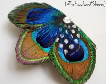 MOLLY MINI - Peacock Treo Feather Fascinator - Made to Order