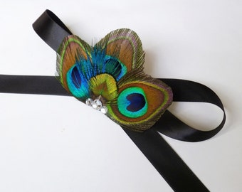 Peacock Corsage - Peacock Wrist Corsage with Turquoise and Green Accents - customizable and made to order
