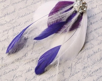 Purple and White or Ivory Bridal Peacock Feather Hairclip - MILA PETITE - customizable wedding accessory