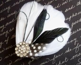 White and Black Bridal Feather Hairclip - MILA PETIT - customizable bridal fascinator