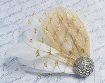 Ivory Champagne and Gold Bridal Feather Hairclip - MILA PETIT - customizable bridal fascinator