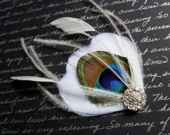 Ivory and Peacock Feather Bridal Hair Clip With Glass Crystal  - MILA PETITE PEACOCK