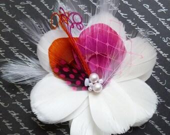 RIVIERA - Pink and Orange Multi Layer Bloom Bridal Flower Fascinator
