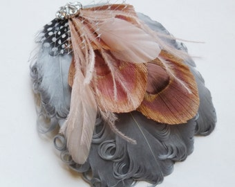 ELLA- Blush Pink and Grey Curled Goose Peacock Feather Fascinator