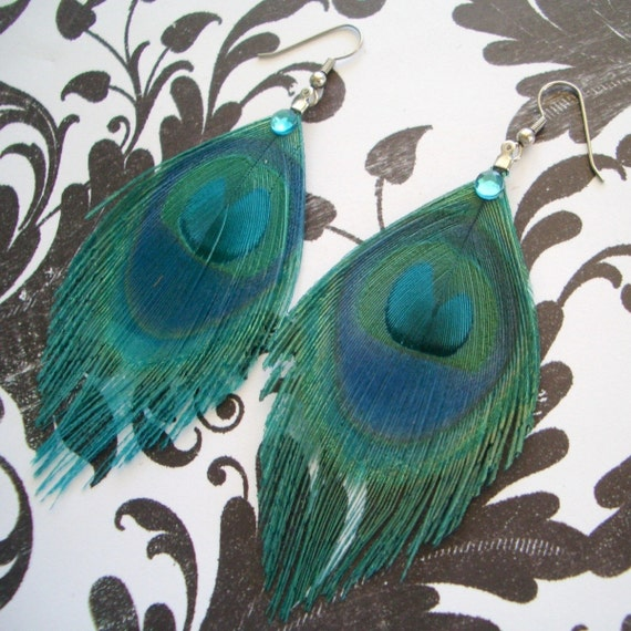 SKYE EARRINGS - Turquoise Peacock Earrings - customizable