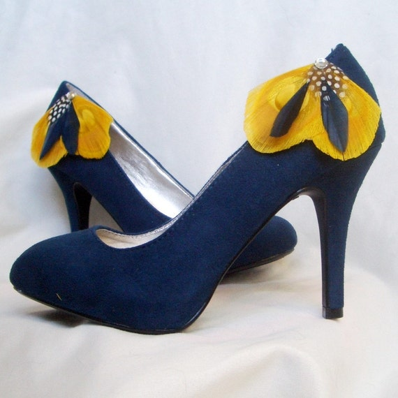 Navy Blue And Yellow Heels | Tsaa Heel