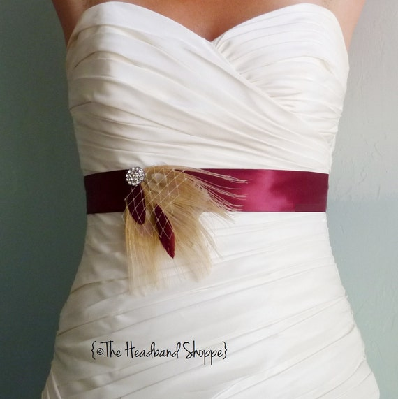 Burgandy and Champagne Cream Peacock Feather Bridal Sash with Birdcage Veiling - BRISTOL