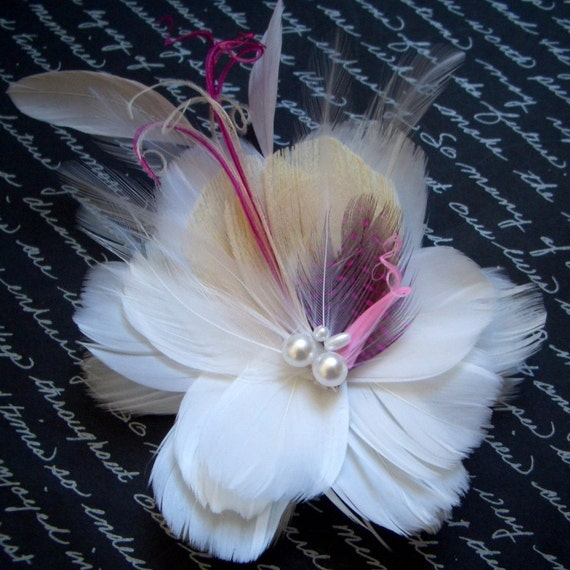 RIVIERA - Ivory Champagne and Pink Multi Layer Bloom Bridal Flower Fascinator