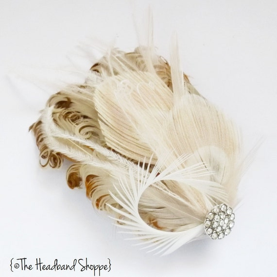 Peacock and Crystal Bridal Feather Fascinator - WINTER in Cream, Tan and Ivory Feathers - Made to Order