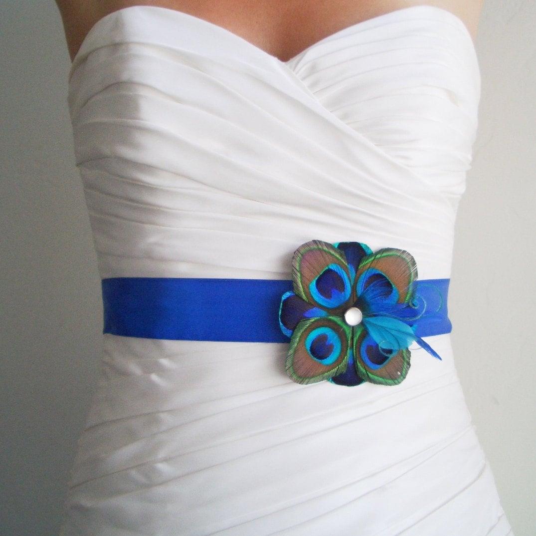 Wedding sash peacock belt bridal accessory tuscany peacock for Peacock wedding dress sash