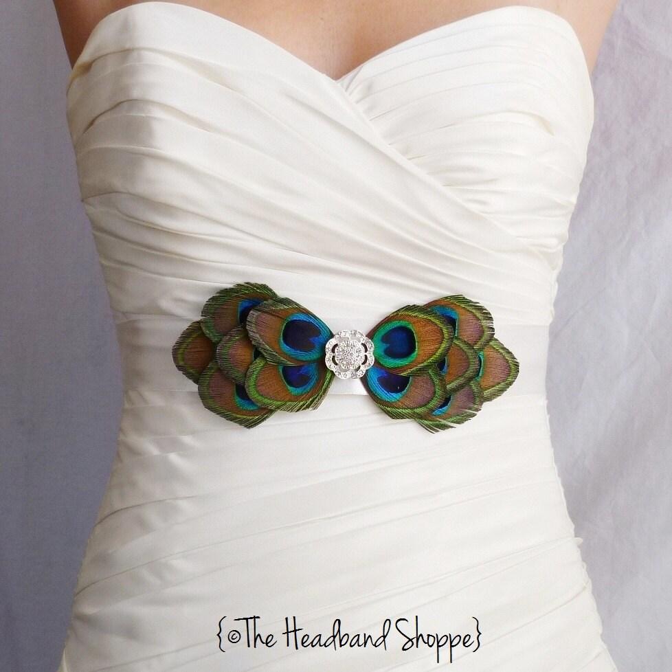 Peacock belt bridal sash peacock bow by theheadbandshoppe for Peacock wedding dress sash
