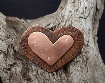Jewelry, Handmade Jewelry, Unique Jewelry, Heart, Pin, Brooch, Gifts, Valentines Day, Copper heart pin
