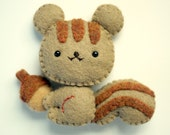 Eco Friendly Felt Squirrel - Plushie, Magnet or Brooch