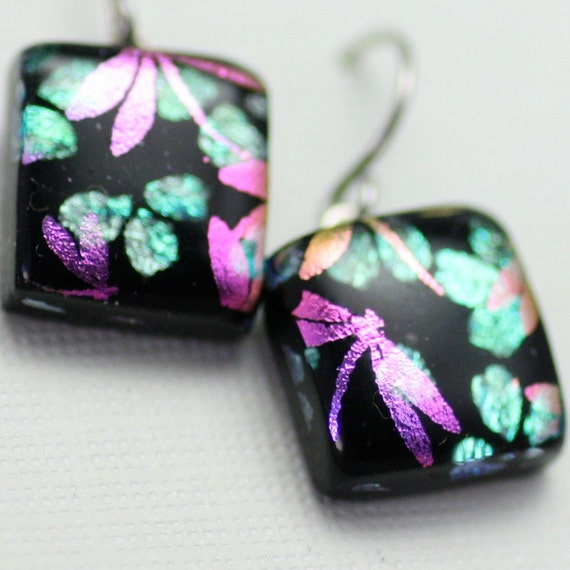 Dragonflies Over Cherry Blossoms Dangle Earrings