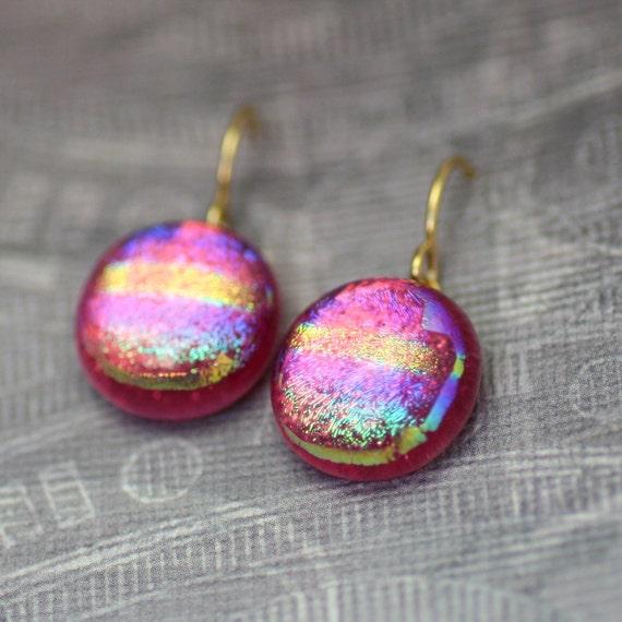 Rainbow Drop Earrings - Dichroic Glass Dandle Earrings on Gold Plate